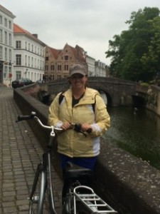 Morgan biking in Brugges, Belgium