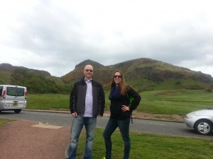 Gina & Andy about to hike Arthur's Seat in Edinburgh, Scotland