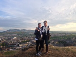 Morgan and fellow student from Exercise Science, Michaela Schenkelberg showing Gamecock pride on Arthur's Seat